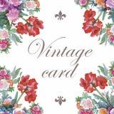 Hälsningkortet med blommor, vattenfärg, kan användas som inbjudankortet för att gifta sig, födelsedag och annan ferie stock illustrationer