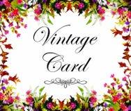 Hälsningkortet med blommor, vattenfärg, kan användas som inbjudankortet för att gifta sig, födelsedag och annan ferie royaltyfri illustrationer