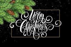 Hälsningkortet med julträdet och calligraphic suckar glad jul Vektorferieillustration Royaltyfri Fotografi
