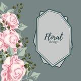 Hälsningkortet med rosor, vattenfärg, kan användas som inbjudankortet för att gifta sig, födelsedag och annan ferie vektor illustrationer