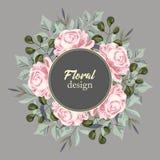 Hälsningkortet med rosor, vattenfärg, kan användas som inbjudankortet för att gifta sig, födelsedag och annan ferie stock illustrationer