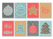 Hälsningkortuppsättning för jul och nytt år stock illustrationer