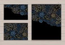 Hälsningkortuppsättning med abstrakt bakgrund Royaltyfria Bilder