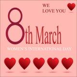 Hälsningkvinnor på mars 8 vektor illustrationer