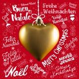 Hälsningskort för glad jul från världen i olika språk royaltyfria foton