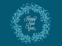 Hälsningskort för lyckligt nytt år med det gröna glade bladet och röd järnek vektor illustrationer