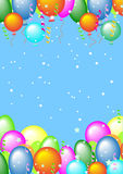 Hälsningskort med bollar och ställe för text stock illustrationer