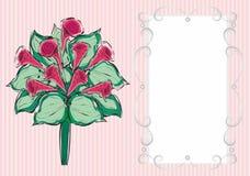 Hälsningskort med en bukett av blommor Arkivfoto