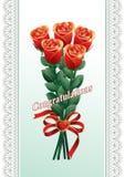 Hälsningskort med en bukett av ro Lyckönskan Royaltyfria Bilder