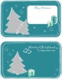 Hälsningskort med julgranar Royaltyfria Bilder