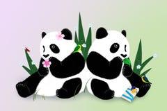 Hälsningskort med två pandas Royaltyfria Bilder