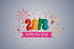 Hälsningskort och beröm för lyckligt nytt år 2018 färgrikt royaltyfri foto
