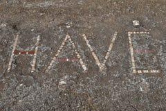 Hälsningsmosaik, Pompeii arkeologisk plats, nr Mount Vesuvius, Italien Arkivbilder