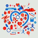 Hälso- och konditionbeståndsdelar stock illustrationer