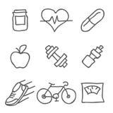 Hälso- och konditionvektorsymboler Beståndsdelar för tryck, mobil och rengöringsdukapplikationer Arkivfoto