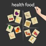 Hälsokost på svart tavla royaltyfri illustrationer