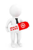 Hälsovårdbegrepp. person 3d med kapselpreventivpilleren Royaltyfri Fotografi