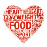 Hälsovårdbegrepp som göras med ord som drar som hjärta Arkivfoton