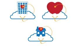 Hälsovårdmolnlogo stock illustrationer