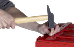 Hämmern einer roten Holzkiste Stockbilder