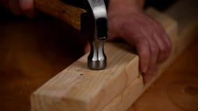 Hämmern eines Nagels in frisches Bauholz stock footage