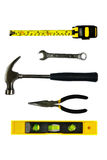 Hämmern Sie, Wasserwaage-, Messen-, Schlüssel- und Störungssucherzangen Stockfotos