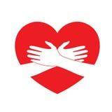 Händchenhalten auf rotem Herzen lizenzfreie abbildung