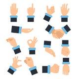 Händchenhalten in den verschiedenen Aktionshaltungen Ergreifung, nehmend und andere Vektorbilder in der flachen Art stock abbildung