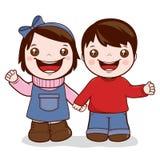 Händchenhalten des kleinen Mädchens und des Jungen stock abbildung