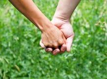 Händchenhalten gegen einen grünen Hintergrund Lizenzfreie Stockfotos