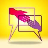 Händchenhalten zeigt alles Recht und O an K stock abbildung