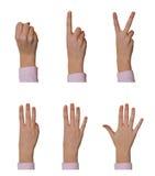 Hände, 0 bis 5 zählend Lizenzfreie Stockfotos