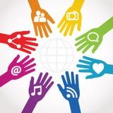 Hände angeschlossen an Anteil stock abbildung