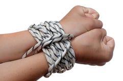 Hände auf dem Seil lizenzfreies stockbild