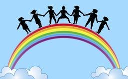 Hände auf Regenbogen 1 Stockbild