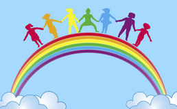 Hände auf Regenbogen   Stockfotografie