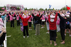 Hände in Avon anhebend, gehen Sie für Brustkrebs Lizenzfreie Stockfotos