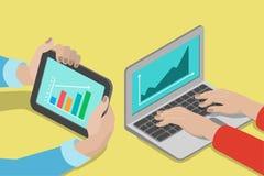 Hände, Computerlaptoptablette mit Diagramm: vermarktender flacher Vektor Stockfoto