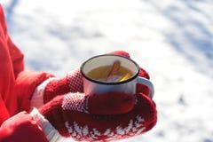 Hände in den gestrickten Handschuhen, die das Dämpfen der Schale heißen Tees auf Morgen-Freien des verschneiten Winters halten Fr lizenzfreie stockfotografie