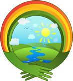 Hände in der Form eines Regenbogens Stockfotos