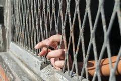 Hände der Frau auf einem Stahlgitter Stockfoto