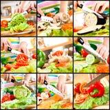 Hände der Frau, die Gemüse schneiden Lizenzfreie Stockfotografie