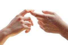 Hände der Frau und des Mannes Stockfotos