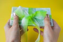 Hände der Frau zwei, die einen Satz von hundert Eurobanknoten mit grünem Bogenknoten, Geschenk oder Dividenden Konzept, Geld der  stockfotos