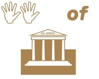 Hände der Gerechtigkeitsymbole Lizenzfreie Stockfotos