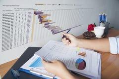 Hände der Geschäftsfrau arbeitend an ihrem Schreibtisch Lesediagramm und -diagramm lizenzfreies stockfoto