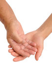 Hände der jungen und älteren Frauen Stockbild