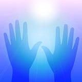 Hände in der Leuchte Stockfotos