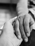 Hände der Mutter und des Sohns, die in der einfarbigen Art zusammenhalten Stockfotografie