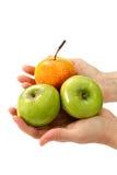 Hände der schönen Frau, die Apfel anhalten Lizenzfreie Stockbilder
